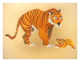 Tiger and cub by Duffzilla