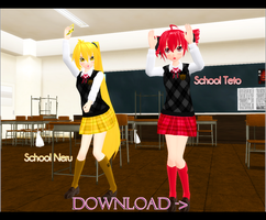 School Neru and Teto +DL by kaahgome