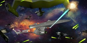 Dreadnought U.S.S. Victory vs Klingon Fleet by calamitySi