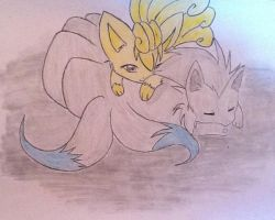Shiny Vulpix and Ninetails by xXxEmoSweetheartxXx