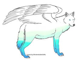 Winged Wolf - Auction =CLOSED= by FlameAdoptions
