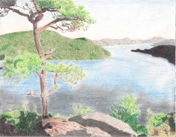 Lake George, NY - Colored Pencil Drawing by BGShepard