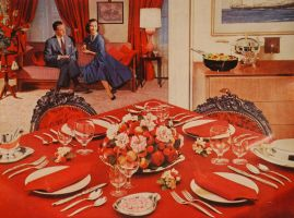 blood red dinner table stock by fahrmboy-stock