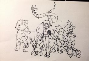 Shylyn and Her Pokemon Team (Lineart) by Shylyn-Drawing-Queen