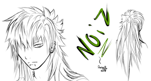 .: Noiz with long hair -sketch- :. by SapphireItrenore