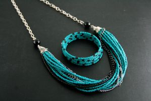Black and Teal beaded Necklace by ArtfulParadox