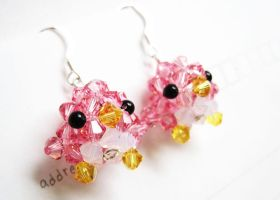 Pink Crystal Penguin Earrings by SparkleMeHappy