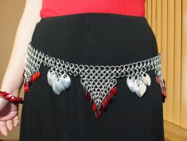 Red and Silver Chainmaille Dance Belt by ofmyhats