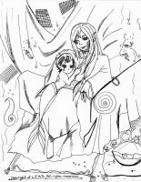 -Pisces and Child Lineart 2. by Leeleechanlee