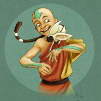 Aang and Momo by DeFemme