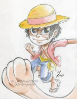 Convention Watercolor Luffy by dekarogue