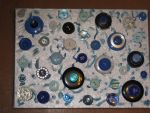 Recycled Art On Canvas - Blue/Silver Collage by Art-Excetera-ESQ