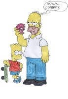 homer and bart simpson by captaindan01
