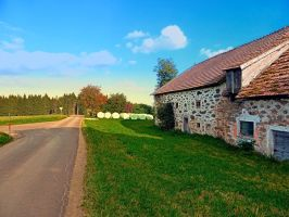Traditional farmhouse scenery by patrickjobst