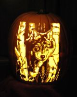 Wolf Carved Craft Pumpkin by St0ney