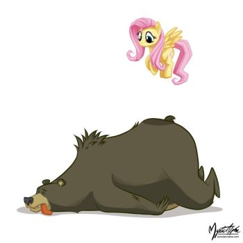 Fluttershy and Mr. Bear by mysticalpha