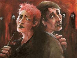 Battle at Hogwarts Lupin+Tonks by sullen-skrewt