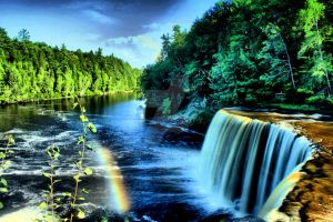Tahquamenon Falls with Rainbow by Michphotog