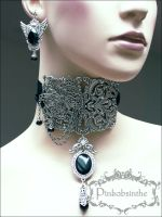 Filigree neck corset and winged earrings by Pinkabsinthe