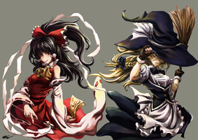 Reimu and Marisa by MaoHell