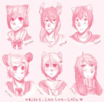 [Kitty Can Can Cafe] Headshot sketches by Pinepuruu
