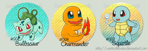 Old Set of Pokemon Starter Trio Buttons by WhiteOblivion