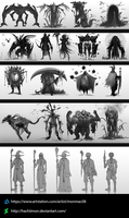 Creature/Character Concept Studies by Hachiimon