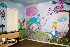 Alice in wonderland mural 3 by bessenyei on deviantart for Alice in wonderland wallpaper mural