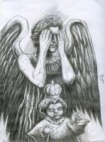 Weeping Angel and Stone Santo Nino by olybear