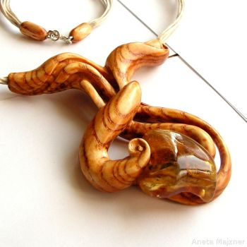 Wooden jewelry with natural amber Necklace 1467 by AmberSculpture