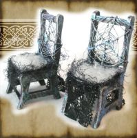 Miniature Spider Web Chairs by grimdeva