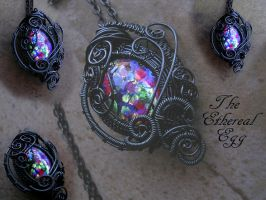 The Ethereal Dragon Egg - Wire Wrapped Ghost Blue by LadyPirotessa