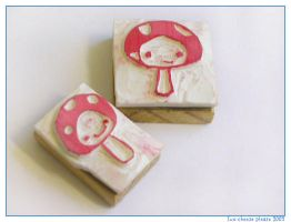 Twin mushroom stamps by restlesswillow