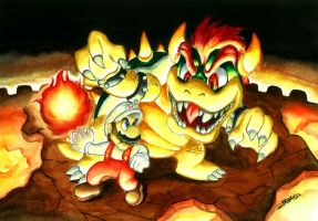 Fire Mario and Bowser by Jorch