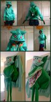 Bulbasaur hoodie with removable bulb backpack by TrafficConeCreations