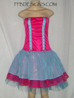 Pink n blue formal dress by funkyfunnybone