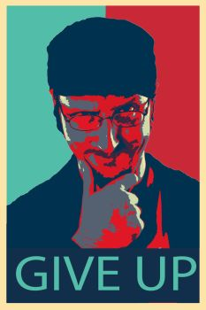 Give Up Poster Nostalgia critic (Hope obama style) by shadow2a