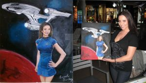 Stephanie and her painting Star Trek by nightwing992000
