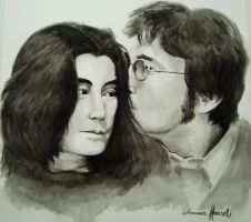 John Lennon and Yoko Ono by aruanahansel