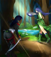 Stalking in the forest by Girutea