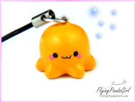 Orange Octopus Phone Charm by FlyingPandaGirl