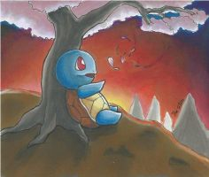 Squirtle sunset | with promarkers and flexmarkers by Randomous