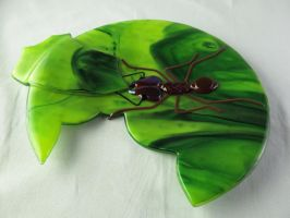 Leafcutter Ant fused glass plate 2 by trilobiteglassworks