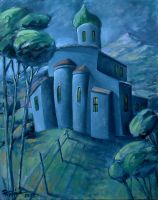 Monastery oil paint by Boias