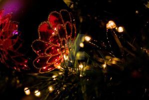 Christmas bauble with lights by photographybypixie
