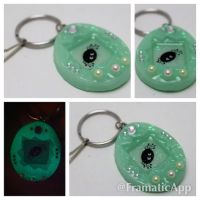 Glow in the Dark Spider Halloween Tamagotchi Charm by TiellaNicole