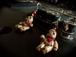 Voodoo of Stitched Hearts Earrings by thevampirepandora