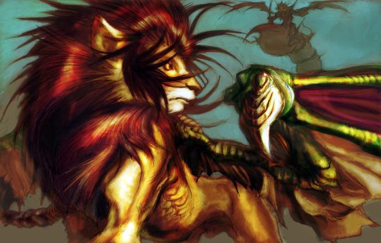 manticore  et demon by rinpoo-chuang