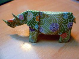 Rhinoceros in Origami by Kaorikiki