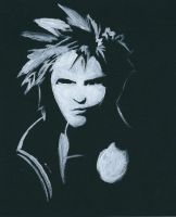 Black and white FFVII: Cloud 01 by Maybeimalion7